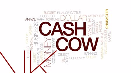 benefício : Cash cow animated word cloud, text design animation. Kinetic typography.