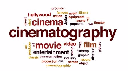 taŚma filmowa : Cinematography animated word cloud, text design animation.