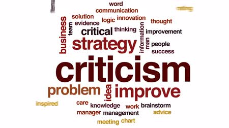 thought : Criticism animated word cloud, text design animation. Stock Footage