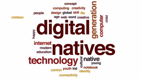 idade média : Digital natives animated word cloud, text design animation.