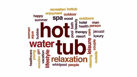 tubérculo : Hot tub animated word cloud, text design animation. Stock Footage