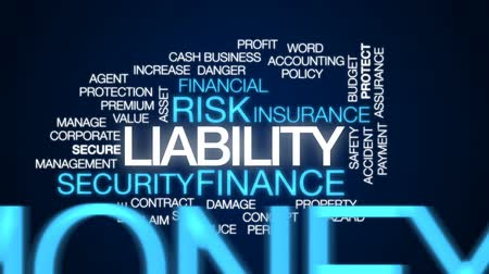 peril : Liability animated word cloud, text design animation.
