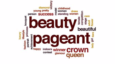 winnings : Beauty pageant animated word cloud, text design animation.