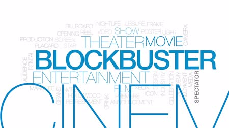 Blockbuster animated word cloud, text design animation. Kinetic typography.