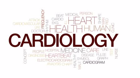 heart beat : Cardiology animated word cloud, text design animation. Kinetic typography. Stock Footage