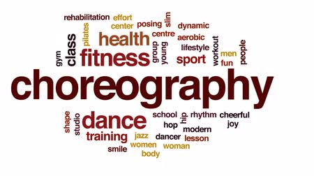 aerobik : Choreography animated word cloud, text design animation. Stok Video