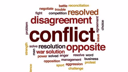 dispute : Conflict animated word cloud, text design animation.