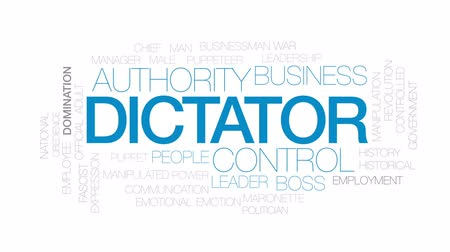 przywództwo : Dictator animated word cloud, text design animation. Kinetic typography. Wideo