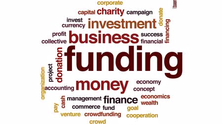 financiamento : Funding organization animated word cloud, text design animation.