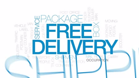 caixa de correio : Free delivery animated word cloud, text design animation. Kinetic typography.