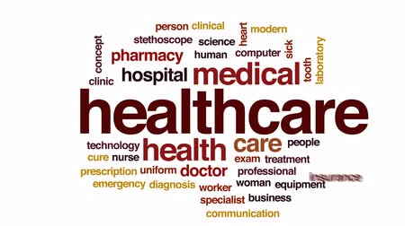 lekarstwo : Healthcare animated word cloud, text design animation.