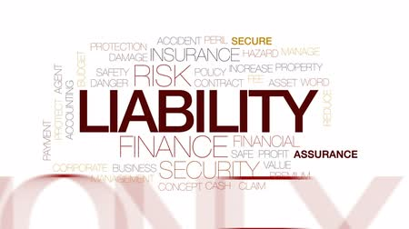 assets : Liability animated word cloud, text design animation. Kinetic typography. Stock Footage