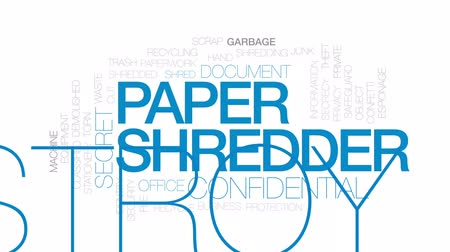 papírnictví : Paper shredder animated word cloud, text design animation. Kinetic typography. Dostupné videozáznamy