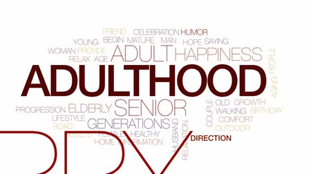 idade média : Adulthood animated word cloud, text design animation. Kinetic typography.