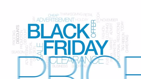 pricetag : Black Friday animated word cloud, text design animation. Kinetic typography. Stock Footage