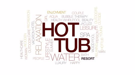 küvet : Hot tub animated word cloud, text design animation. Kinetic typography.
