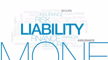 peril : Liability animated word cloud, text design animation. Kinetic typography. Stock Footage