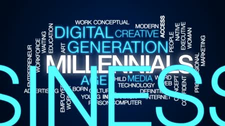 idade média : Millennials animated word cloud, text design animation. Stock Footage