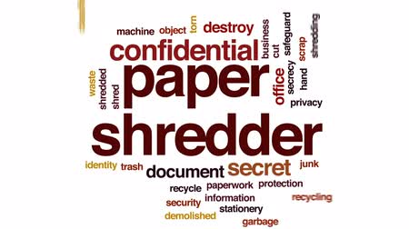 lebontották : Paper shredder animated word cloud, text design animation.