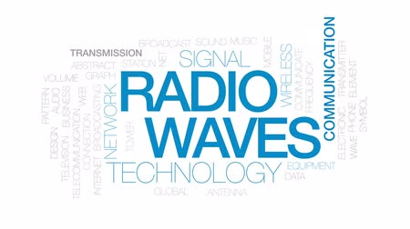vysílač : Radio waves animated word cloud, text design animation. Kinetic typography. Dostupné videozáznamy