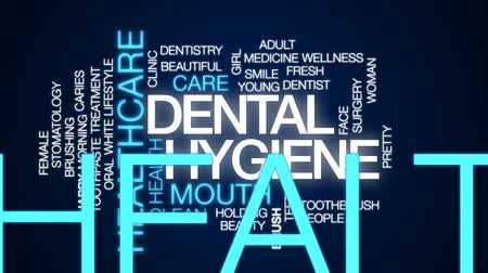 brushing : Dental hygiene animated word cloud, text design animation. Stock Footage