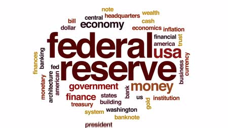 fed : Federal reserve animated word cloud, text design animation. Stock Footage