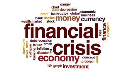 рецессия : Financial crisis animated word cloud, text design animation.