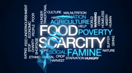 fome : Food scarcity animated word cloud, text design animation.