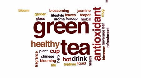 yasemin : Green tea animated word cloud, text design animation.