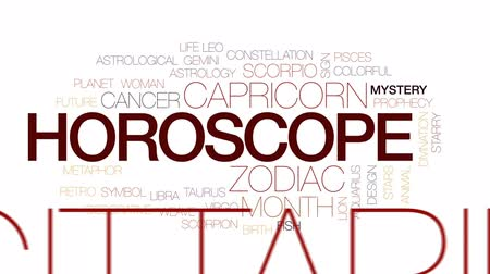 strzelec : Horoscope animated word cloud, text design animation. Kinetic typography.