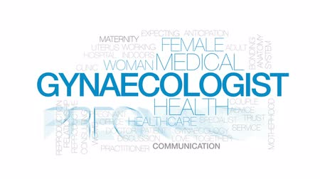 working together : Gynaecologist animated word cloud, text design animation. Kinetic typography.