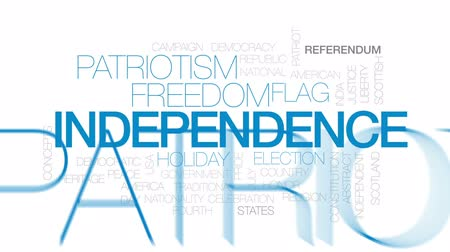 bandeira americana : Independence animated word cloud, text design animation. Kinetic typography.