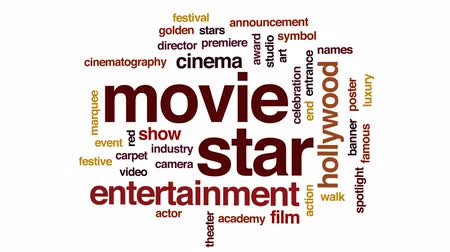 премия : Movie star animated word cloud, text design animation.