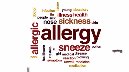 alergia : Allergy animated word cloud, text design animation. Vídeos