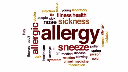belirti : Allergy animated word cloud, text design animation. Stok Video