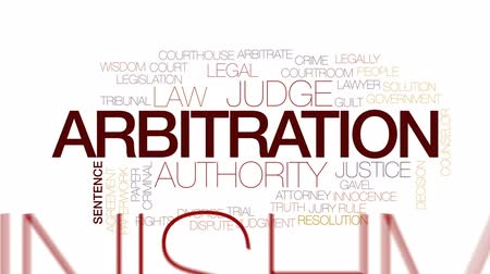 tribunal : Arbitration animated word cloud, text design animation. Kinetic typography.