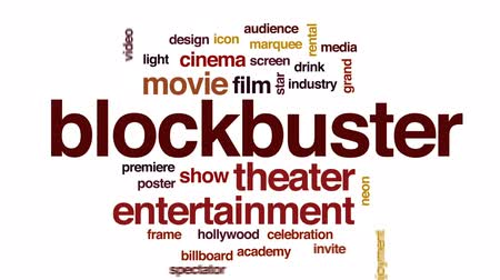 Blockbuster animated word cloud, text design animation. Stock Footage