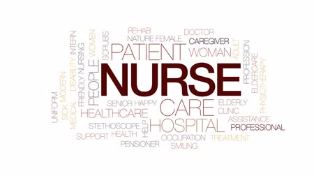 интерн : Nurse animated word cloud, text design animation. Kinetic typography. Стоковые видеозаписи
