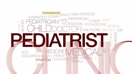 paediatrician : Pediatrist animated word cloud, text design animation. Kinetic typography.