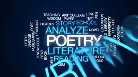 поэт : Poetry animated word cloud, text design animation. Стоковые видеозаписи