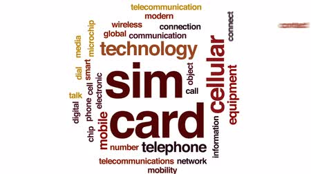 gsm : SIM card animated word cloud, text design animation.