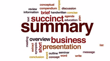 synopsis : Summary animated word cloud, text design animation. Stock Footage