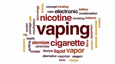 cigar : Vaping animated word cloud, text design animation. Stock Footage