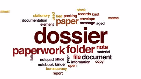 bürokrasi : Dossier rights animated word cloud, text design animation.