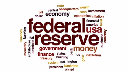 us banknotes : Federal reserve animated word cloud, text design animation. Stock Footage