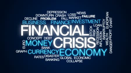 benefício : Financial crisis animated word cloud, text design animation.