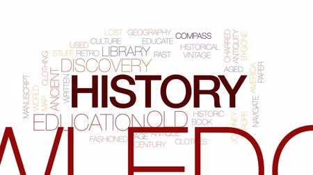 charred : History animated word cloud, text design animation. Kinetic typography. Stock Footage