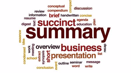compendium : Summary animated word cloud, text design animation. Stock Footage