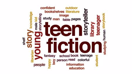 conta : Teen fiction animated word cloud, text design animation.