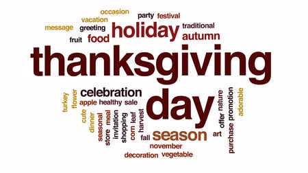 повод : Thanksgiving day animated word cloud, text design animation. Стоковые видеозаписи